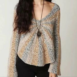 Free People Pinwheel Sunburst Sweater Bell Sleeve